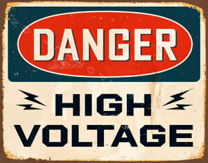 DANGER HIGH VOLTAGE  METAL TIN SIGN POSTER WALL PLAQUE