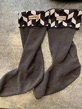 HUNTER Original Tall Knee High Boot Socks Chevron Black White Stripe Medium 5-7
