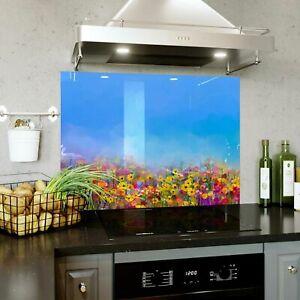 Glass Splashback Kitchen Tile Cooker Panel 450x550 mm Paint Art Flowers BESPOKE