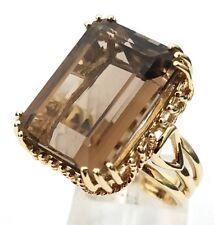 Art Deco Era 10 Karat Yellow Gold 26.00 Carat Emerald Cut Brown Tourmaline Ring