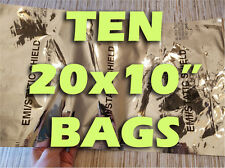 "TEN BAGS! 20x10"" MILITARY ANTISTATIC FARADAY CAGE ESD PREPPER EMP SURVIVALISTS"