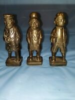 3 Unique Vintage Solid Brass Peg Leg Pirate Figures 6 inches Tall