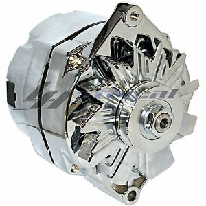 CHROME HIGH OUTPUT ALTERNATOR FOR CHEVROLET CHEVY CAMARO BEL AIR 3-WIRE 200AMP