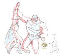 "Batman The Animated Series Original Production Drawing Bane + Robin-""Bane"""