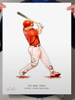"Mike Trout Los Angeles Angels Baseball Print Poster 12"" x 16"" Illustration"
