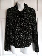 RONNI NICOLE Black Slinky Blouse Jacket ~ Traveler's Style Leaf Design- Size 12P