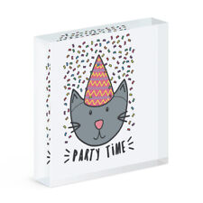 Party Time Cat Acrylic Photo Block Frame Funny Joke Birthday