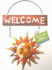 "Garden Collection Colorful Bright Sun Face Metal Welcome Sign 11.5""L X 8""W New!"