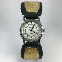 Montana Silversmiths Womens X5034 Black Gold Plated Band Two Tone Quartz Watch