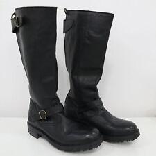FIORENTINI+BAKER Tall Biker Boots Jade Jacko Womens 9.5 40 Black Leather Straps