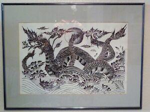 Original Pen and Ink Drawing, Thai River Dragon by Yurachai. Incredible Detail!