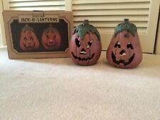 Vintage 2 Cast Iron Jack-o-Lanterns in box ~ Fall / Autumn Outside Porch Decor