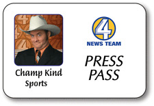 CHAMP KIND SPORTS ANCHORMAN NAME BADGE PROP HALLOWEEN COSTUME MAGNETIC BACK