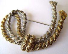 Ancien Bijou Vintage broche rétro noeud corde couleur or et argent original *482