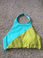 Victoria Secret's color block Green/yellow Halter bikini swim top sz L