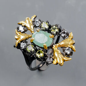 Fashion women ring Emerald Ring Silver 925 Sterling  Size 6 /R178841