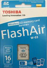Toshiba 16G FlashAir W-03 SDHC Class10 Wireless LAN SD Memory Card Made in Japan