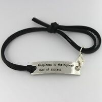 Women Men Black Genuine Leather Stainless Steel Handmade Cuff Wristband Bracelet
