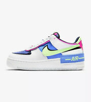 NIKE AIR FORCE 1 SHADOW - WHITE / BLUE / PINK / GREEN CJ1641 100 - UK 8