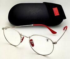 New Ferrari RAY-BAN Rx-able Eyeglasses RB 3447-VM F031 50-21 Silver Round Frames