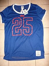 VICTORIAS SECRET PINK RARE NFL NEW YORK GIANT JERSEY SCOOPNECK TeeShirt L NWT