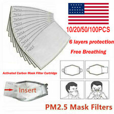 1-100X PM2.5 Activated Carbon Filters 5 Layer Replacement For Face Mask