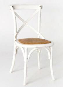 Classic French Design Natural American Oak Timber White Dining Chairs - 2x Pcs