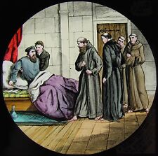 Glass Magic Lantern Slide MONKS WITH MAN IN BED C1890 DRAWING