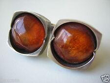 Massive Honig Natur Bernstein Manschetten 835 Silber 21,2 g Amber