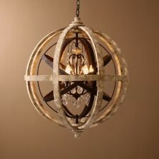 Rustic Weathered Wooden Globe Chandelier Metal Orb Crystal 3-Light Ceiling Lamp