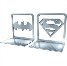 More details for dc comics batman / superman logo steel bookends - eaglemoss - book ends - new
