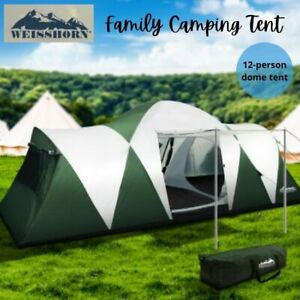 Weisshorn Family Camping Tent 12 Person Hiking Beach Tents (3 Rooms) Green AU