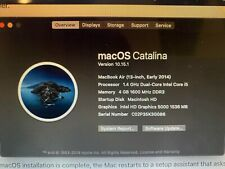 Macbook Air (13 inch, Early 2014) - 1.4 GHz, 4 GB memory, 128 GB SSD