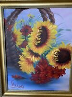 Original M McLeod oil on canvas STILL LIFE SUN FLOWERS 24 X 18 gold frame nice