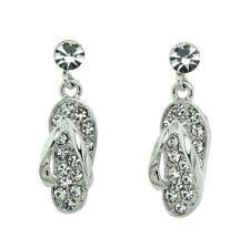 Flip Flop SANDAL Beach W Swarovski Crystal Clear Stud Post Earrings Jewelry Gift