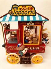 "Rare Enesco Hot Popcorn Cart ""Pop Goes The Weasel"" Mice Multi-Action Music Box"