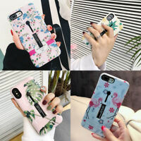 For iPhone XS Max XR 6 7 8 Plus X Retro Flower Ring Holder Kickstand Case Cover