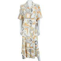 Vtg Marc Angelo Tea Dress UK 18 Beige Cream Orange Pattern Short Sleeve Belt