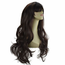 "22"" Ladies Beautiful Full WIG Long Hair Piece LOOSE WAVES Dark Brown #4"
