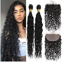 Natural Wave Brazilian Virgin Hair 2 Bundles with Free Part Lace Frontal Closure