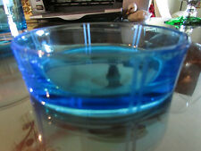 Blue Crystal Art Glass Bowl with etched stripes ground polished bottom