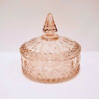"""Vintage Indiana Glass Pink Flamingo """"Princess Line"""" Candy Dish With Lid 50s-70s"""