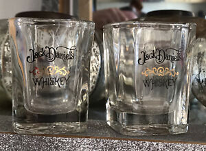 VINTAGE JACK DANIEL'S SHOT GLASSES WITH BLACK & GOLD PRINT