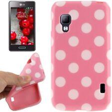 TPU Case für LG E455 Optimus L5 II Dual in rosa mit weißen Punkten Etui Hülle