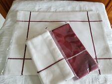 Pampered Chef White Windowpane Placemats (Set of 2) Windowpane Napkins (4) - Nip