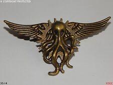 steampunk goth brooch badge bronze cog gear flying wings kraken octopus pirate