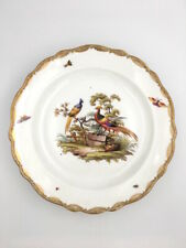 Grand plat ornithologique porcelaine Meissen Saxe c.1880 Knaufzeit Porzellan