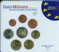 2002 GERMANY 8 Coin Euro SET: 2€; 1€; 50; 20 ;10 ;5 ;2 ;1 Cent BERLIN A Mint