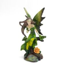 Mystical Fairy Figurine Small Fairie in Green Dress Wings Sitting on Tree Branch