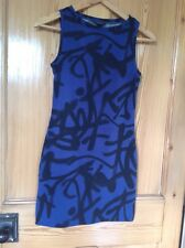 Topshop Body Con Stretch Graffiti Dress Size 8